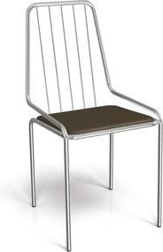 Cadeira Benim Cromada De Metal Marrom Kappesberg