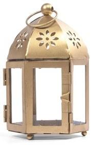 Porta vela lamparina dourada