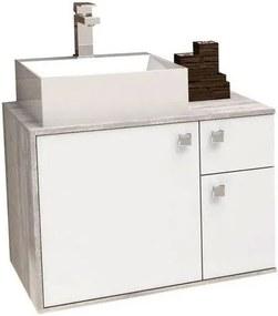 Gabinete para Banheiro 60cm MDF Caeté Branco e Calcare sem cuba 60x43,2x41,5cm - Cozimax - Cozimax