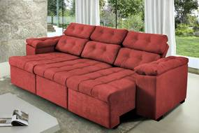 Sofa Itália 2,42 Mts Retrátil e Reclinavel Tecido Suede Vermelho - Cama InBox