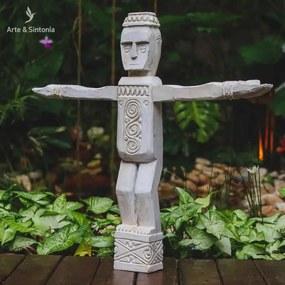 Escultura Étnica Timor 60cm   Madeira