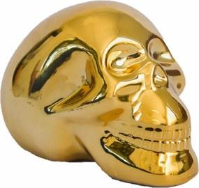Cofre cerÂmica metalizado - caveira dourada