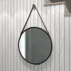 Espelho Redondo 58cm Alça Decoração Escandinavo Preto