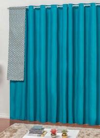 Cortina Rústica Azul 270x170 cm