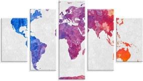 Conjunto de 5 Telas Love Decor Decorativas em Mapa Mundi Colors  Branco