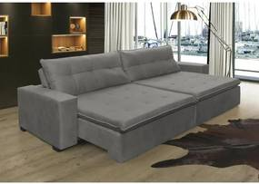Sofá Retrátil, Reclinável Oklahoma 2,12m, Molas e Pillow no Assento Tecido Suede Cinza Cama InBox