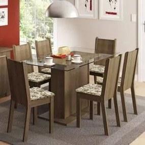 Conjunto Sala de Jantar Madesa Gales Mesa Tampo de Vidro com 6 Cadeiras Rustic/Lírio Bege Cor:Rustic/Floral Lírio Bege