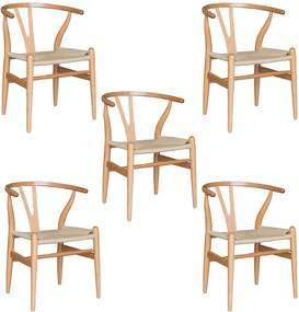 Kit 5 Cadeiras Decorativas Sala de Jantar e Cozinha Bella Madeira Bétula Bege - Gran Belo