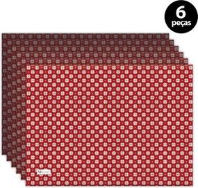 Jogo Americano Mdecore Natal Flocos de Neve 40x28 cm Vermelho 6pçs