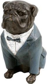 Estatueta Cachorro Paletó Azul - 17cm