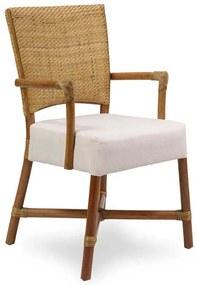 Cadeira com Braço Palo Alto Palha de Rattan Junco Envelhecido Estrutura Apuí Eco Friendly Design Scaburi