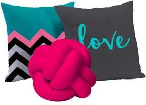 Coleção de Almofadas Mix de Estampas Love Pink 03 Peças
