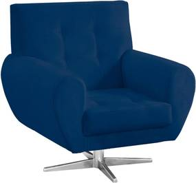 Poltrona Decorativa Beluno Suede Azul Marinho Base Estrela Aço Cromado - D'Rossi