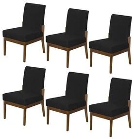 Kit 6 Cadeiras Jantar Helena Estofada Casa Cozinha Preto