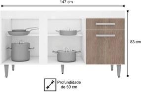 Balcão Gabinete de Pia 150cm Montreal 3 Portas Branco e Castanho  Lumil Móveis
