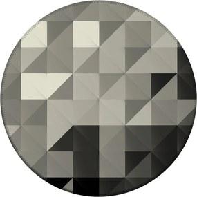 Tapete Love Decor Redondo Wevans Triângulos Cinza 84cm