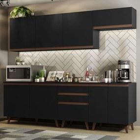 Cozinha Completa Madesa Reims 250001 com Armário e Balcão Preto Cor:Preto