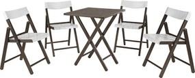Conjunto Potenza 1 Mesa + 4 Cadeiras Madeira Tabaco/Branco - Tramontina