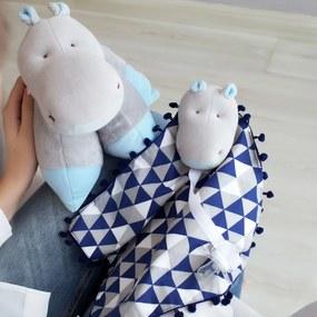 Kit 2 Peças Travesseiro Bichinho e Naninha Pompom Hipopótamo Triângulos Marinho e Azul Bebê