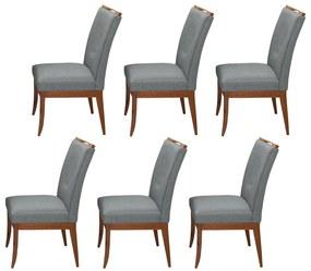 Conjunto 6 Cadeiras Sala de Jantar Lana Linho/Poliester Cinza