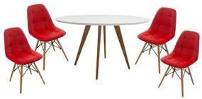 Conjunto Mesa Square Redonda Branco Fosco 88cm + 4 Cadeiras Eiffel Botonê Vermelho