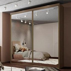 Guarda-Roupa Wulfrig (L: 207 cm) C/ 2 Portas De Correr Espelhadas 100%