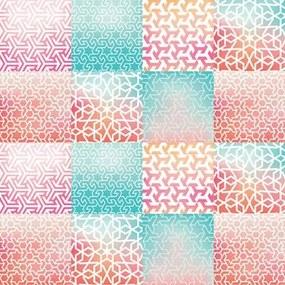 Adesivo Azulejo Abstrato Rosa E Verde 291722429
