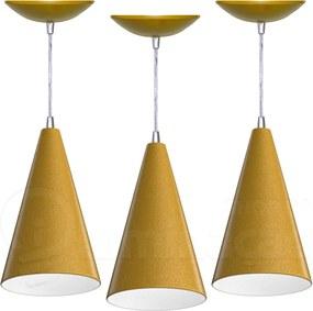 Kit 3 Pendentes Cone (dourado / Branco)