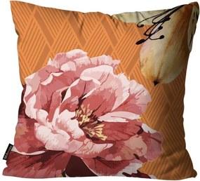 Almofada Premium Cetim Mdecore Floral Laranja45x45cm