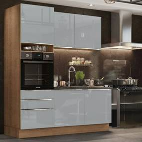 Cozinha Compacta Madesa Lux com Armário e BalcÁo 5 Portas 3 Gavetas - Rustic/Cinza Cinza