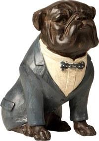 Estatueta Cachorro Paletó Azul - 22cm