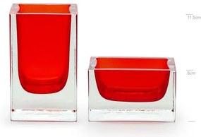 Conjunto com Porta Lápis e Porta Clips Vermelho Murano Cristais Cadoro
