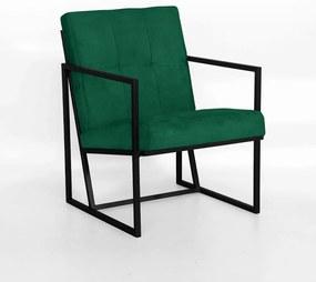 Poltrona Megan Decorativo Base Preto Suede Verde Bandeira