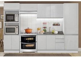 Cozinha Completa Madesa 100% MDF Acordes 2 Gavetas 11 Portas Branco Brilho Cor:Branco