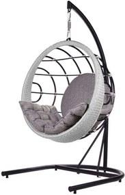 Poltrona de Balanco Bowl em Aluminio Revestido em Corda cor Prata com Suporte de Chao - 45215 Sun House