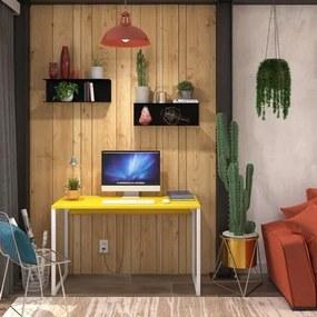 Mesa em Metal com tampo de Aço Colorido | Tam: 80x60 |Cor: Amarelo e Branco