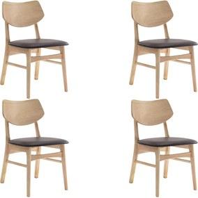 Kit 4 Cadeiras Decorativas Sala e Escritório Zion Madeira Natural (PU) Café - Gran Belo