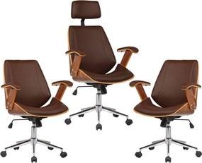 Kit 03 Cadeiras de Escritório Presidente e Diretor Giratória com Regulagem de Altura Akon PU Marrom - Gran Belo