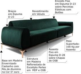 Sofá 3 Lugares Sala de Estar Base de Madeira Euro 210 cm Veludo Verde - Gran Belo