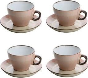 Jogo Xícaras Para Chá 4 Peças Com Pires Cerâmica Rosa 200ml 27833 Bon Gourmet