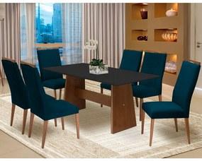 Conjunto Mesa Lorena 1,80 m Preto + 6 Cadeiras Lívia Veludo Azul Marinho