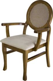 Cadeira De Jantar Medalhão Contemporânea com Braço - Wood Prime 34481 Liso