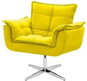 Poltrona decorativa Opala amarela base giratória MeuNovoLar
