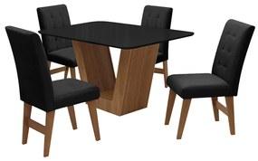 Conjunto Mesa de Jantar Safira com 04 Cadeiras Agata 135cm Cedro/Preto/Preto - ADJ DECOR