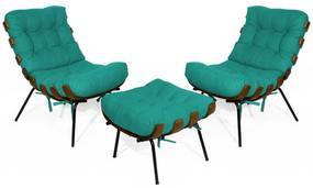Kit 2 Poltronas Decorativa Costela Com Puff Costela Suede  Azul Tiffany