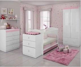 Quarto de Bebê Completo Sabrina 3 em 1 - Branco/Rosa
