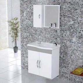 Kit Gabinete + Espelheira para Banheiro 55,5cm MDF Verona Suspenso Branco e Cinza Claro com Pia - Rorato - Rorato