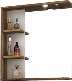 Espelheira para Banheiro com LED e Tecla Lara 60cm 010450.4601 Nogal/Branco - Móveis Bosi