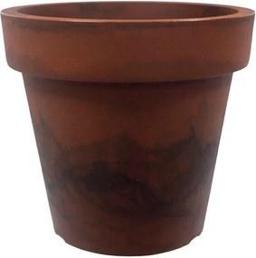 Vaso Polietileno Estilo Vietnamita Redondo Essencial D46cm x A40cm Aço Corten