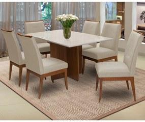 Conjunto Mesa Keli 1,60 m Off White + 6 Cadeiras Lana Linho/Poliester Bege